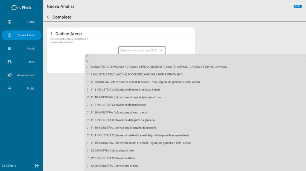 ctrl risk analisi mcc codice ateco
